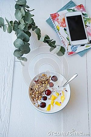 Free Blue Bowl Of Homemade Granola Baked With Yogurt, Fresh Berries, Stock Photo - 117787350