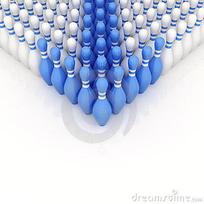Free Blue Bowling Pins As A Pointer Royalty Free Stock Images - 21413189
