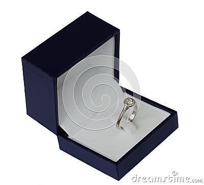 Blue box with diamond ring