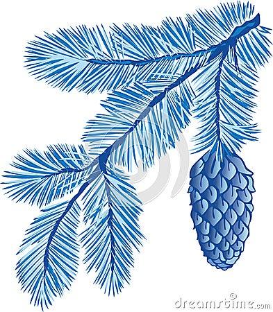 Blue branch of fur-tree