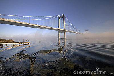 Blue, bridge and fog