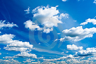 Blue bright sky with white clouds