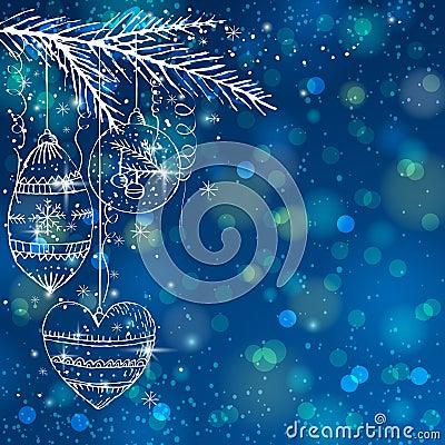 Blue brightness background with christmas balls,