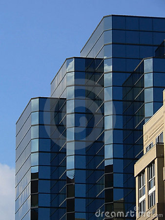 Free Blue Buildings With Reflections Stock Photography - 856072