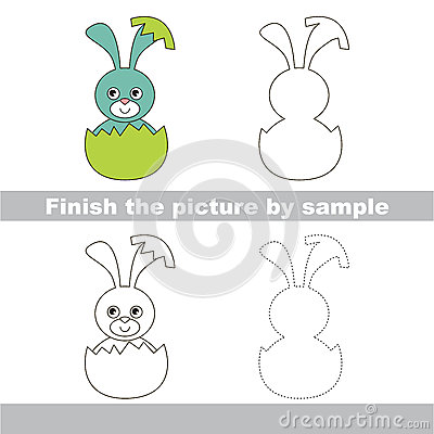 blue bunny in eggshell drawing worksheet stock vector image 70125931. Black Bedroom Furniture Sets. Home Design Ideas