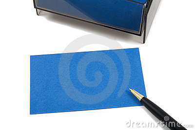 Blue Business (blank) card on White with pen.