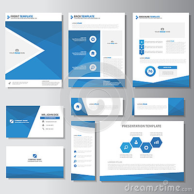 Free Blue Business Brochure Flyer Leaflet Presentation Card Template Infographic Elements Flat Design Set For Marketing Stock Photo - 65005690