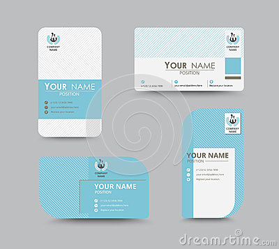 Free Blue Business Contact Card Template Design. Vector Stock Royalty Free Stock Image - 58641726