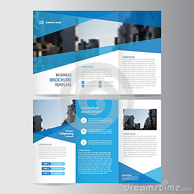 Free Blue Business Trifold Leaflet Brochure Flyer Template Design, Book Cover Layout Design, Abstract Blue Presentation Templates Stock Images - 70766344