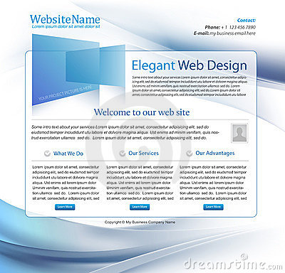 Blue business website vector template