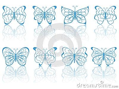 Blue butterflies.