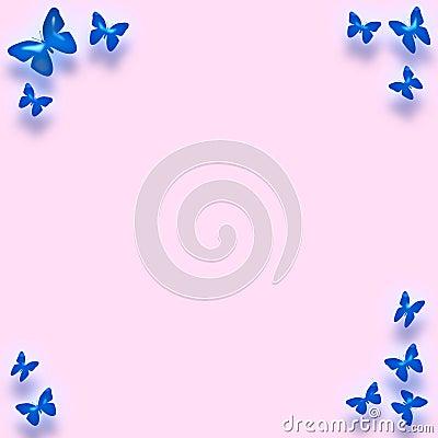 Blue butterfly border