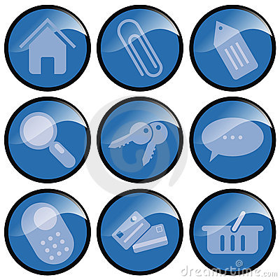 Blue Button Icons