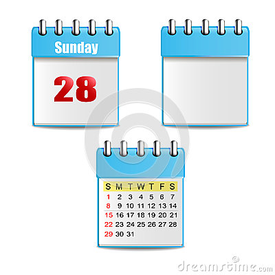 2 blue calendar with days, colorful figures and 1