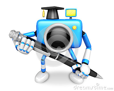 Blue Camera Character ballpoint pen a handwriting. Create 3D Cam