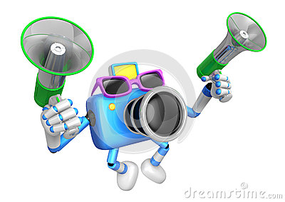 Blue camera character is holding a megaphone in the hands. Creat