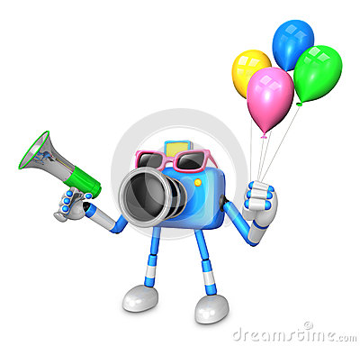 Blue camera character to the event activity. Create 3D Camera Ro