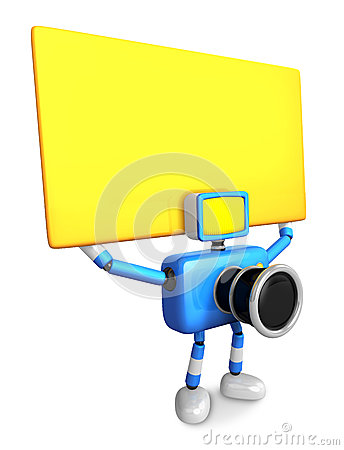 Blue Camera Character up yellow board a thing with both hands. C