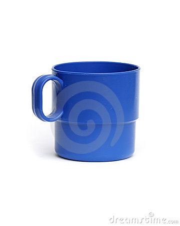 Blue camping cup isolated plastic