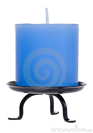 Blue candle on white