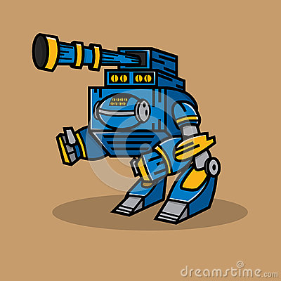 Free Blue Cannon Robot Royalty Free Stock Images - 43858739