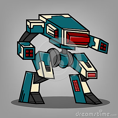 Free Blue Cannon Robot Stock Photography - 43892122