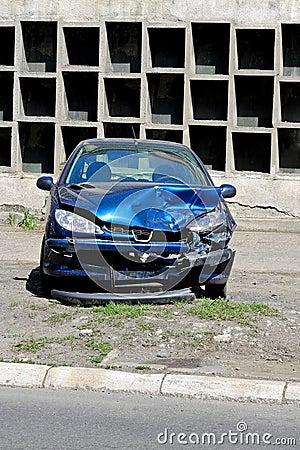 Blue car crash