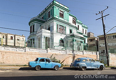 Blue car in Havana