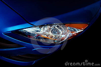 Blue car headlight