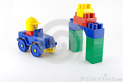Blue car - mechanical plastic toy