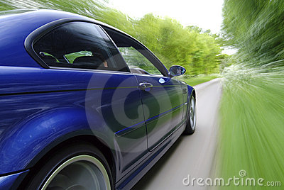 Blue Car Speeding