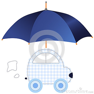Blue car under umbrella