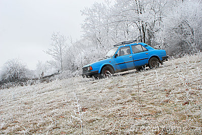 Blue car by winter forest
