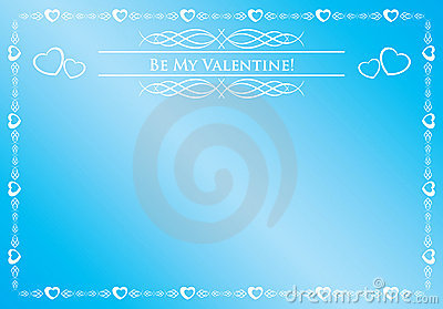 Blue card - be my valentine - vector