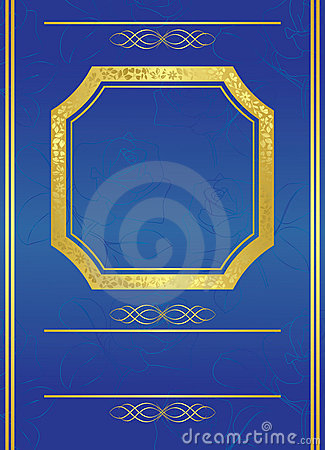 Blue card with gold frame - vector