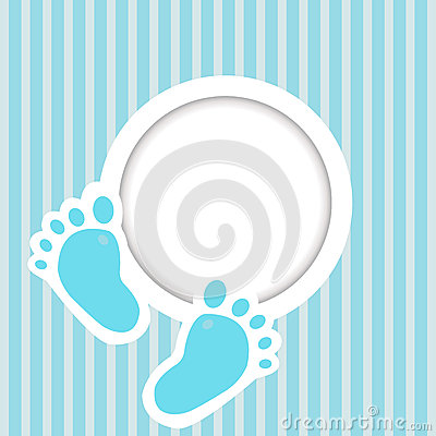 Blue card with baby feet