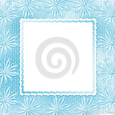 Blue card for invitation with bow and ribbons