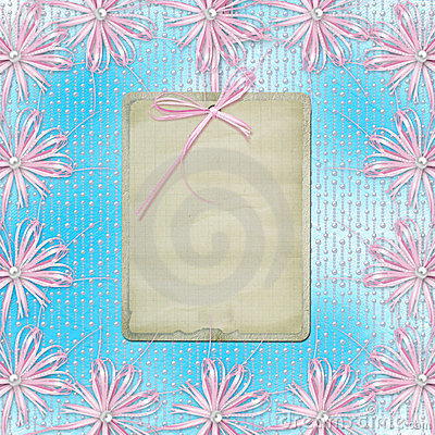 Blue card for invitation with pink bow