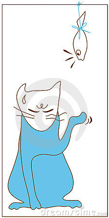 Blue cat give fish please