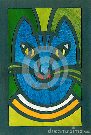 Blue cat portrait applique artistic illustration