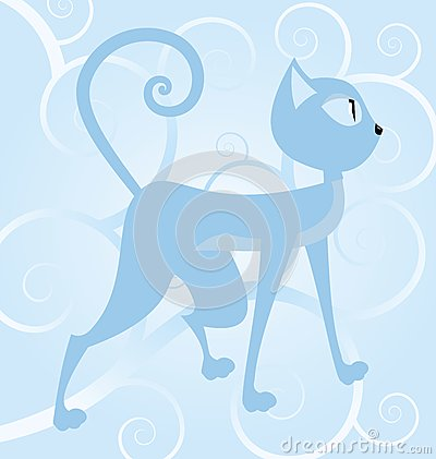 Blue cat on spiral background