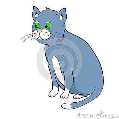 Blue cat. Vector illustration
