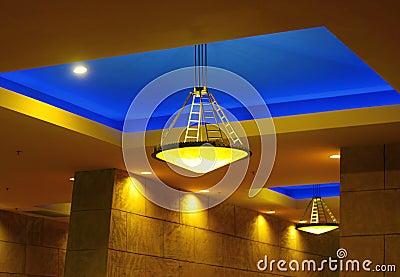 Blue ceiling lights
