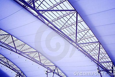 Blue ceiling of office building