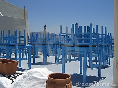 Blue chairs and tables