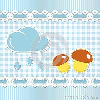 Blue checked pattern with mushroom