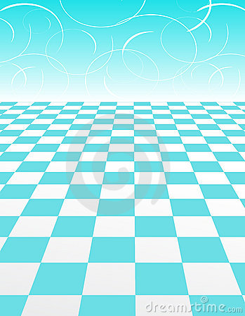 Blue Checker Pattern with abstract swirl Backgroun