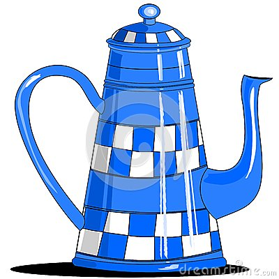 Blue checkered coffee pot