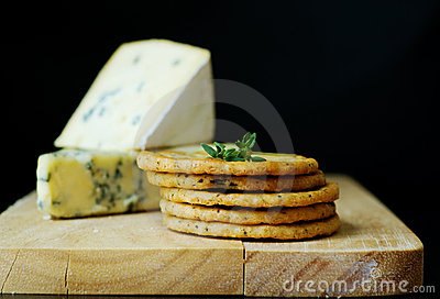 Blue cheese selection with crackers