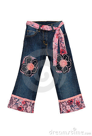 Blue children girl jeans with pink flowers pattern isolated on w